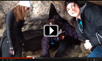 Video of a typical hike—including meeting up, taking public transit, hiking in the snow, and exploring a cave.