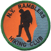Photo of New York Ramblers Hiking Club embroidered patch.