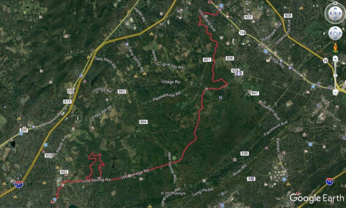 Google Earth track of hike route.