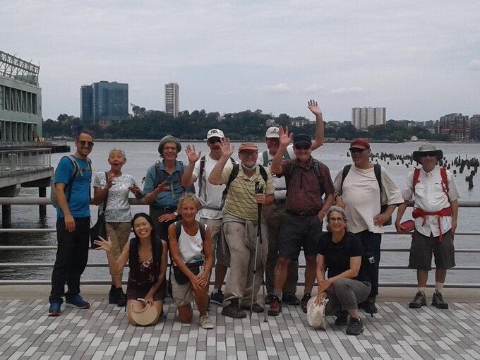 Group photo of hiking club meetup.